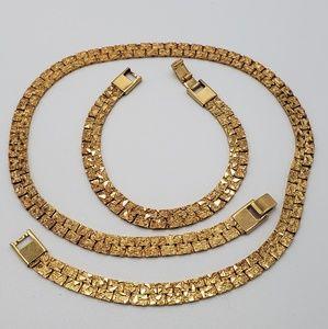 Shiny Diamond Cut Chain Necklace & Bracelet Set